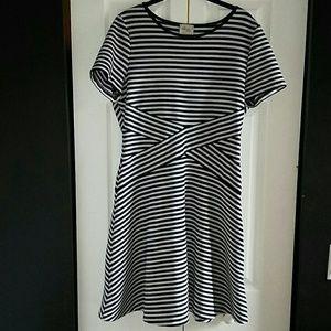 Beige by eci Women Dress A line Stripes Size L